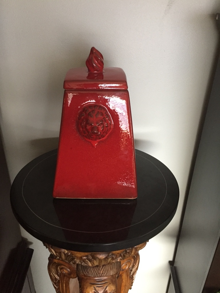 Photo Red Lion Tower Napa FireLites or Fire Pot Dimensions are 8 x 8 x 12.5H Each Napa FireLite is an individually hand made. Just use gel fuel. Napa FireLites or Fire Pots make great home decor or accents for decks & patios. . $20