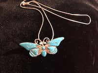 Sterling silver blue butterfly necklace