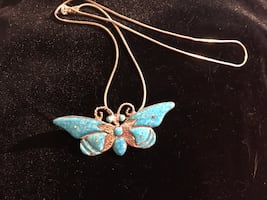 925 blue butterfly necklace
