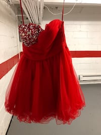 Short red party prom
