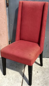 Pair of Red Upholstered Side Chairs with High Backs Philadelphia