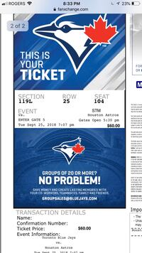 SELLING A PAIR OF JAYS TICKETS  Toronto, M1X 1V2