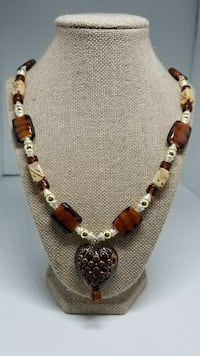 Tan and Brown Sweetheart Necklace
