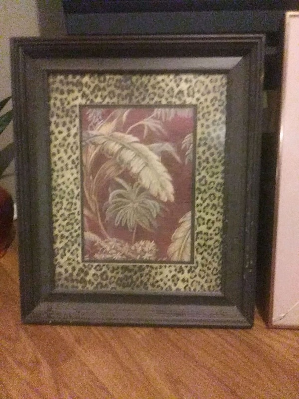 Used Brown Wooden Framed Painting Of Flowers For Sale In Roswell Letgo