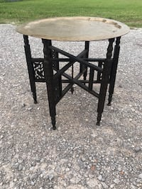 Antique mid century carved wood table with tray top Piedmont, 73078