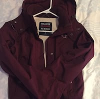 red Hollister button-up hoodie