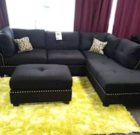 Brand New Black Linen Sectional Sofa +Ottoman  Silver Spring, 20901