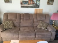 brown suede 3-seat sofa KELOWNA