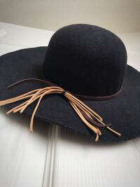 Black lovely sophisticated sun hat with string accent one size never-used