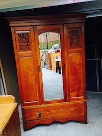 Brown wooden wardrobe with mirror Whitby, L1N 6X4