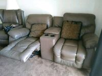 two gray leather recliner sofa chairs Palm Desert, 92211