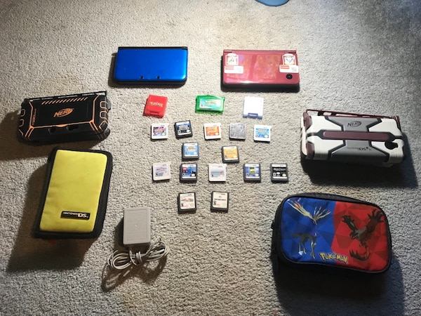 PRICE CAN BE NEGOTIATED:3ds xl and ds I xl with cases and storage to putt  games a lot of Pokémon games with charger water damage in the blue ds on