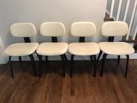 Pick up today 4 white leather chair modern and cleaning product moving sale  Springfield, 22152