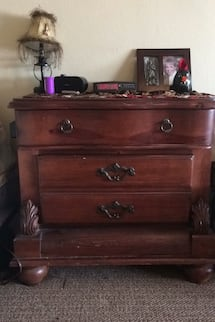 Tall 5 drawer dresser w/ matching night stand