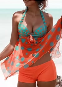 women's orange and teal polka-dotted bikini Silver Spring, 20903