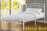 Brand new white metal platform bed frame in single and double on sale 多伦多