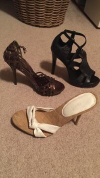 Three pairs black and brown open toe sandals