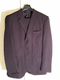 gray notch lapel suit jacket Clinton