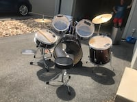 Black and red drum set