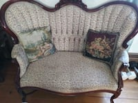 brown and beige floral fabric 3-seat sofa 365 mi