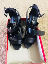 Pair of black leather open-toe heeled sandals Hopkins, 55343