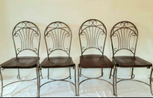 Scroll Pewter & Cherry Seat Dining Chairs - set 4