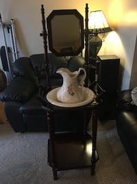 Wash stand with pitcher and basin