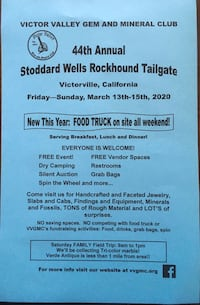 Victor Valley Gem And Mineral Club 44Th Annual Tailgate