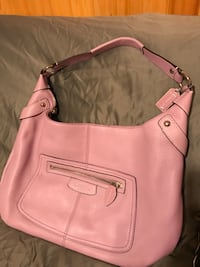 women's pink Coach leather hobo bag