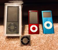 Apple iPods (4) Black, Gray, Red, & Blue Crofton, 21114