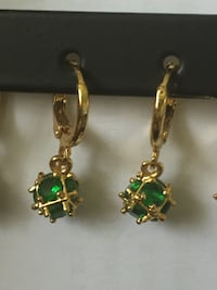gold-colored-and-green hook earrings East Brunswick