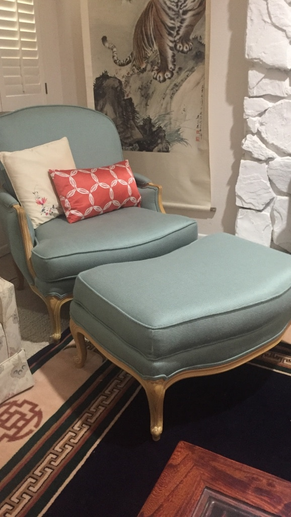 Reupholstered Ethan Allen Chair And Ottoman