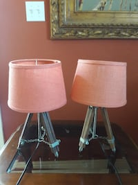 two stainless steel base with white lampshade table lamps Bellflower, 90706