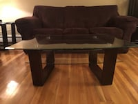 Double-Panel Glass and Wood Coffee Table and End Table Montclair