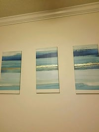 two white-and-blue abstract paintings Hampton, 30228