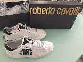 Pair of white-and-black roberto cavalli low-top sneakers with box