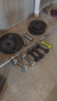 black and gray barbell and dumbbells Deforest, 53571