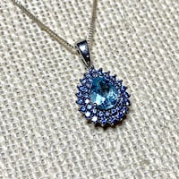 Genuine Sterling Silver Aquamarine & Sapphire Pendant & Sterling Chain Ashburn