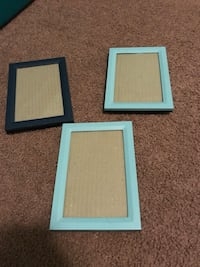 Two blue and one dark blue  photo frames