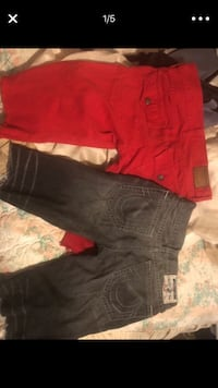 two red and black denim jeans Columbus, 43219