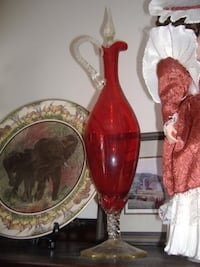 Vintage cranberry glass decanter