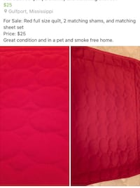 Red quilt sheet set Gulfport, 39501