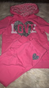"""(girls) childrens place. 2 piece pink """"love"""" zip hoodie  and sweatpants. size 10/12. 525 mi"""