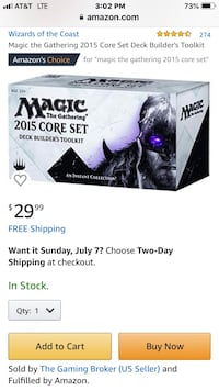 """MAGIC The Gathering 2015 CORE SET DECK BUILDER'S TOOLKIT"""" 285 Cards PLUS 30 additional card San Benito, 78586"""