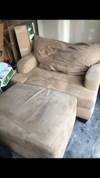 Brown suede sofa chair with ottoman Puyallup, 98375