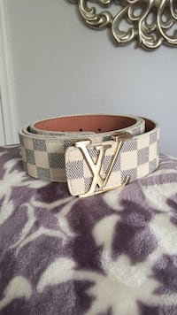 Damier Azur Louis Vuitton leather belt Haymarket, 20169