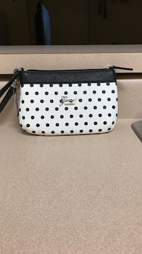 black and white polka dotted leather wristlet Bel Air, 21015
