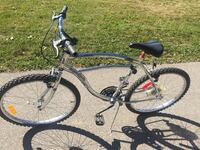 gray male cruiser bicycle