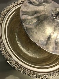 Silver on copper dish with lid Markham