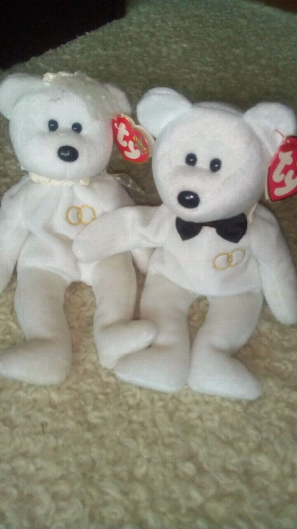Used two white bear TY Beanie Baby for sale in Bettws - letgo 67049a989ac